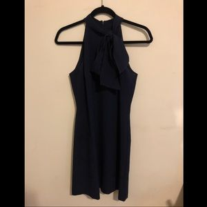 Vince Camuto Navy Sleevless Bow Neck Dress